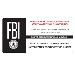 FBI bank robbery, brurglary and larceny sticker