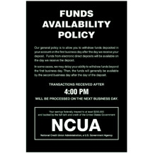 Ncua Funds Availability Sign And Transaction Notice 6 X 9